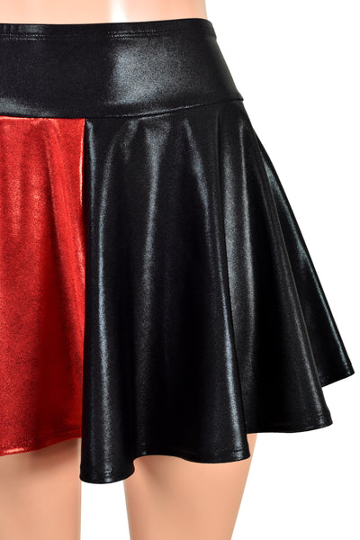 Red and Black Metallic Harley Quinn Circle Skirt