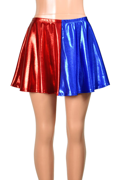 "Shiny Metallic Blue and Red Flared Skirt (14"" Length)"