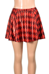 "Shiny Metallic Black and Red Diamond Print Flared Skirt (14"" Length)"