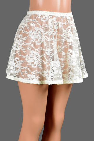 "Ivory / Off-White Lace and Elastic Skirt (14"" Length)"