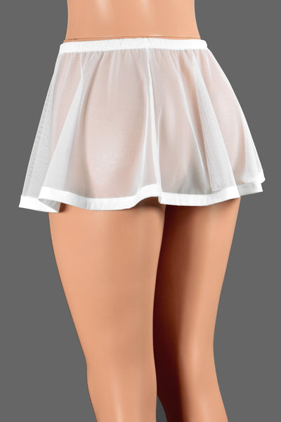 Flared White Mesh and Elastic Skirt (Two Length Options)