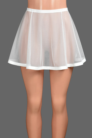 "Flared White Mesh and Elastic Skirt (14"" Length)"