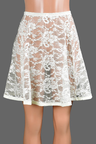 "Ivory / Off-White Lace and Elastic Skirt (18"" Length)"