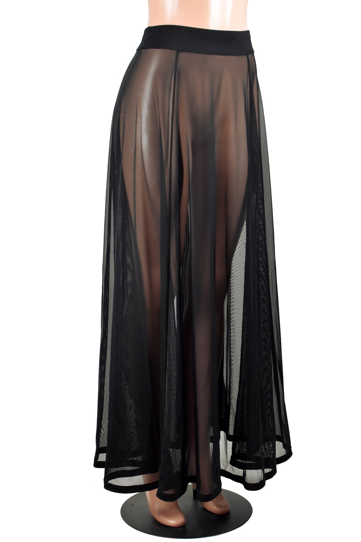 Sheer Black Mesh Maxi Skirt