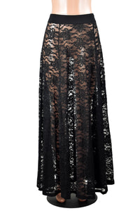Sheer Black Lace Maxi Skirt