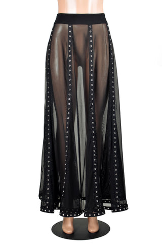 Sheer Black Mesh and Metal Grommet Maxi Skirt