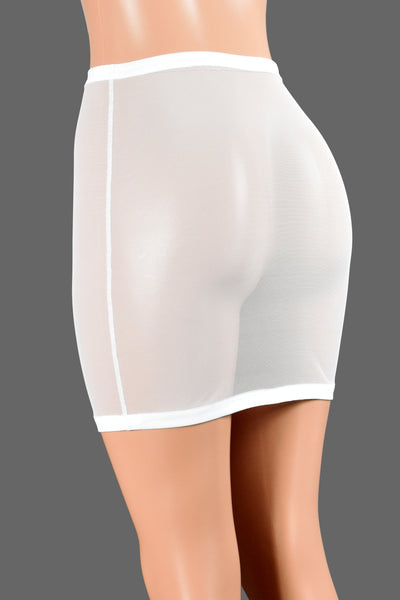 High-Waisted White Mesh Mini Skirt