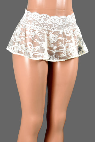Sheer Ivory Lace Micro Mini Skirt
