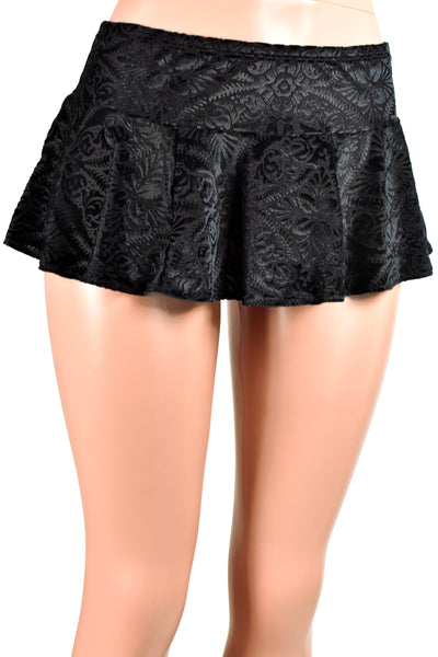 Black Brocade Velvet Micro Mini Skirt