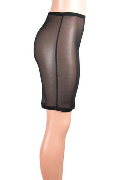 High-Waisted Black Mesh Knee Length Skirt