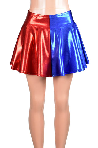 Red and Blue Metallic Harley Quinn Circle Skirt