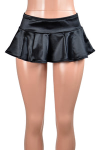 Black Stretch Satin Micro Mini Skirt