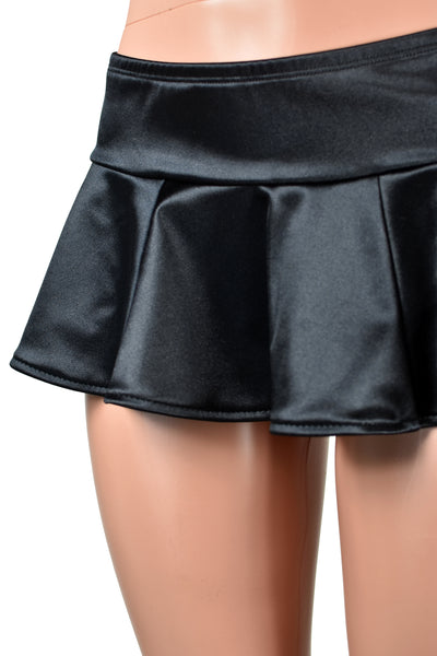 Black or Red Stretch Satin Micro Mini Skirt