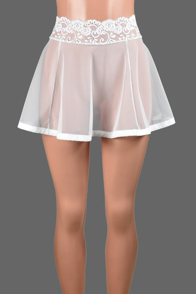 White Mesh and Lace Skirt (Three Length Options)