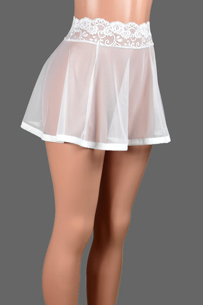 "White Mesh and Lace Skirt (14"" Length)"