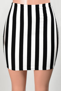 High-Waisted Black and White Striped Mini Skirt