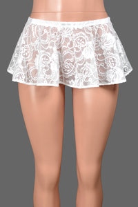 "White Stretch Lace Micro Mini Skirt (8"" long)"