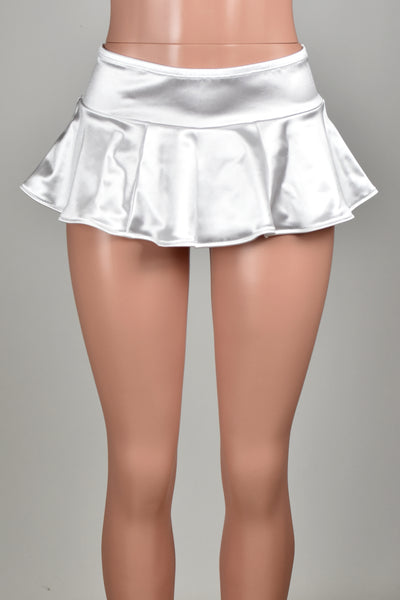 White Stretch Satin Micro Mini Skirt