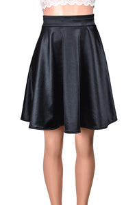 Black Stretch Satin Flared Skirt (Knee Length)