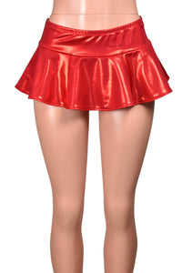 Shiny Metallic Red Micro Mini Skirt