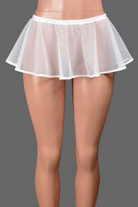 "White Mesh Micro Mini Skirt (8"" long)"