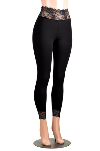 Black Cotton Spandex Lace-Waist Leggings