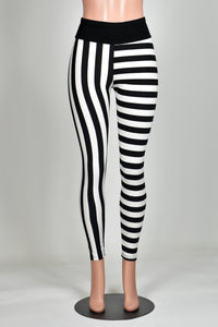 Black and White Perpendicular Stripe Leggings