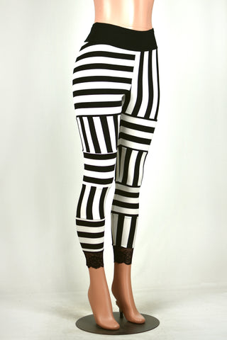 Black and White Reverse Stripe Leggings