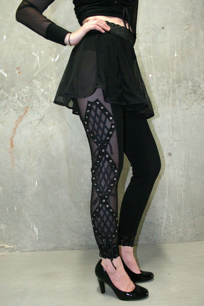 Black Mesh Diamond Lace-Up Leggings