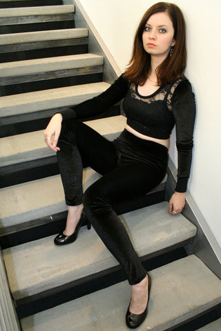Black Stretch Velvet Leggings