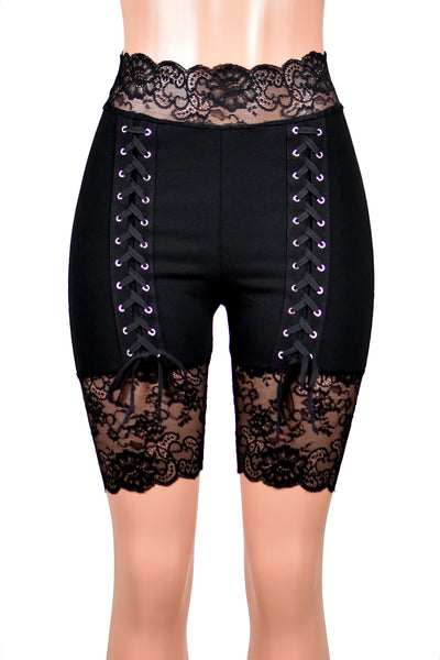 "High-Waist Lace-Up Front Stretch Lace Shorts (8.5"" inseam)"