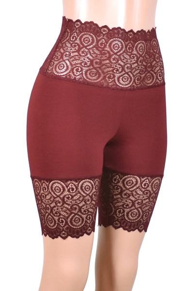 "Burgundy Wide Waistband Stretch Lace Shorts (8.5"" Inseam)"