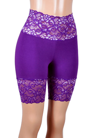 "Purple and Silver Wide Waistband Stretch Lace Shorts (8"" inseam)"
