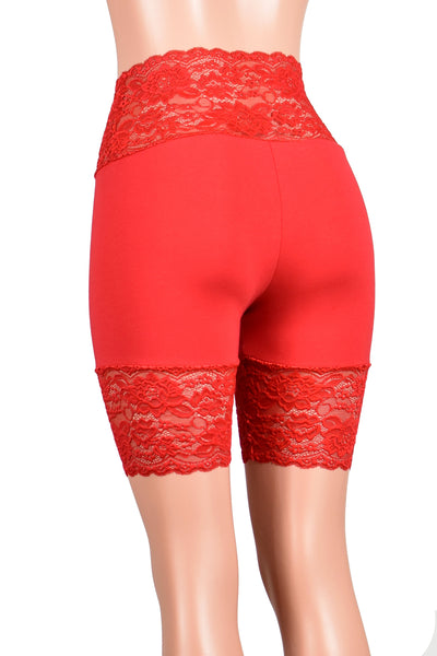 "Red Wide Waistband Stretch Lace Shorts (8.5"" Inseam)"
