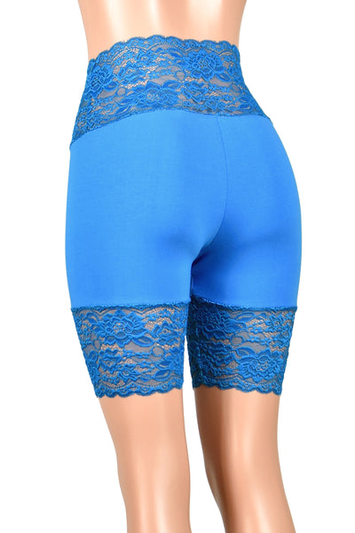 "Turquoise Wide Waistband Stretch Lace Shorts (8.5"" Inseam)"