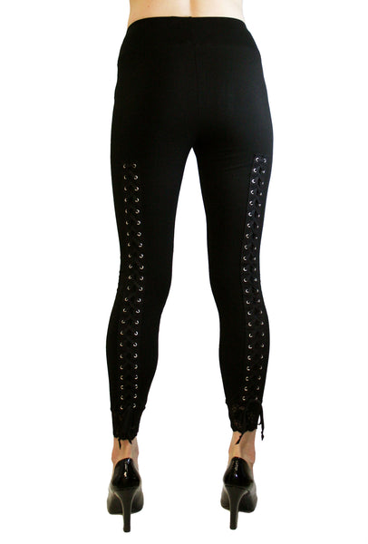 Lace-Up Back Leggings with Black Lacing