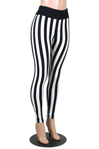 Full Length Black and White Vertical Stripe Leggings