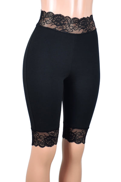 "Knee Length High-Waisted Black Stretch Lace Shorts (10.5"" inseam)"