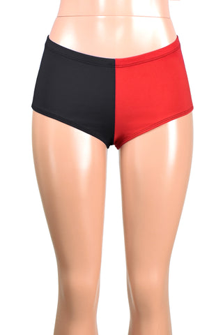Black and Red Cotton Harley Quinn Booty Shorts