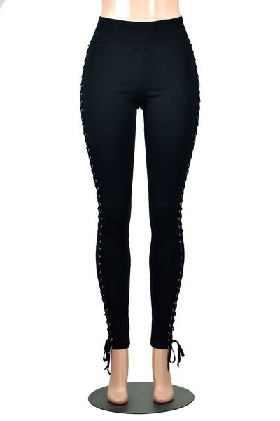 Black Side Lace-Up Leggings (cotton or poly spandex)