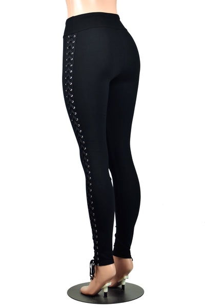 Full Length Side Lace-Up Leggings (black, red, or rainbow lacing)
