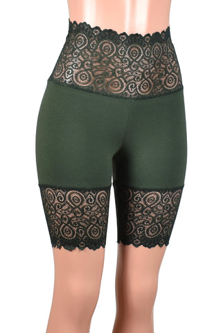 "Dark Olive Green Wide Waistband Stretch Lace Shorts (8.5"" inseam)"