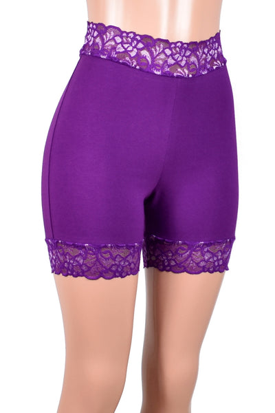 "High-Waisted Purple and Silver Stretch Lace Shorts (5"" inseam)"