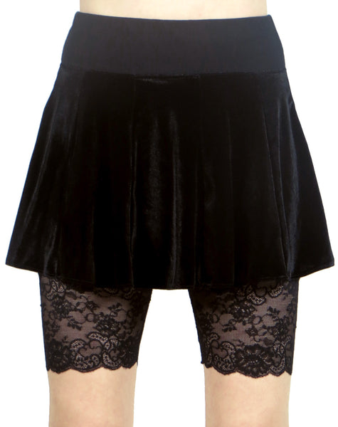 "Black Wide Waistband High-Waisted Stretch Lace Shorts (8.5"" inseam)"