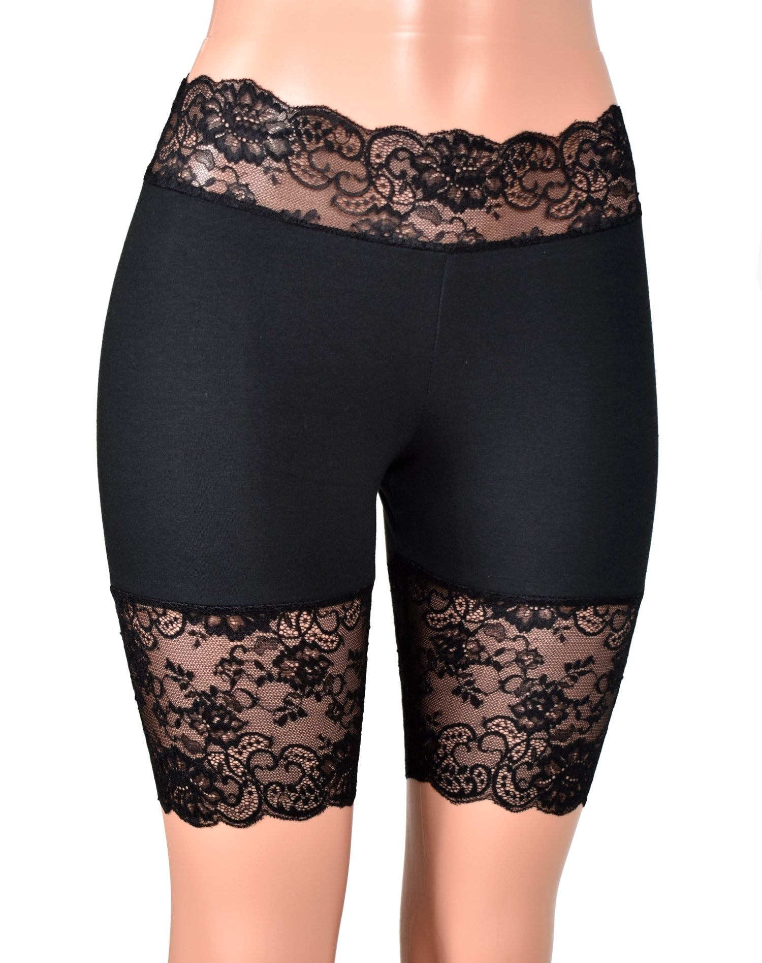 "Black Stretch Lace Shorts (8.5"" inseam)"