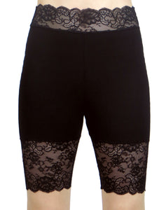 "Black High-Waisted Stretch Lace Shorts (8.5"" inseam)"