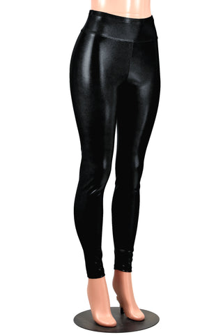 Shiny Black Metallic Leggings