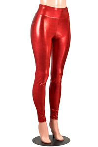 Shiny Red Metallic Leggings