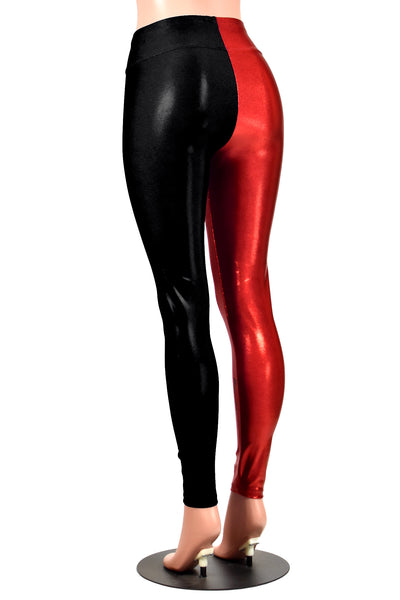 Shiny Red and Black Metallic Harley Quinn Leggings