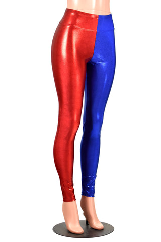 Shiny Red and Blue Metallic Harley Quinn Leggings